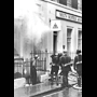Rod Williams Photography. Black & White photograph of London, 1967. Fire at YHA Headquarters